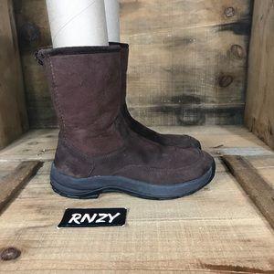 LL Bean Fleece Lined Suede Warm Zip Up Boot